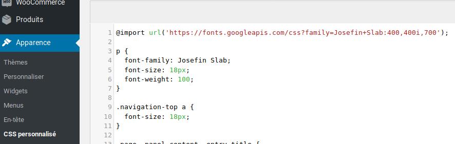 CSS personnalisé brut